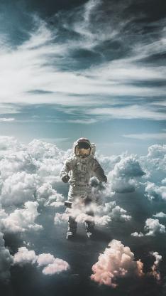 宇航员 太空服 云端 天空 空间
