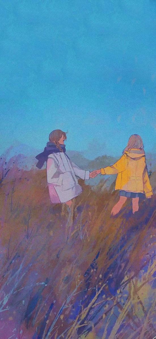女孩 插图 郊外 色彩