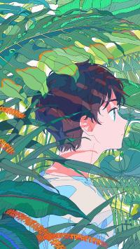 男孩 丛林 叶子 绿色 漫画 二次元
