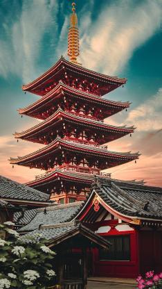 建筑 浅草寺 天空 日本 地标