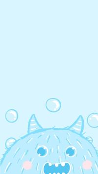 小怪兽 蓝色 可爱 卡通