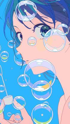 女子 女孩 蓝色 吹泡泡 漫画
