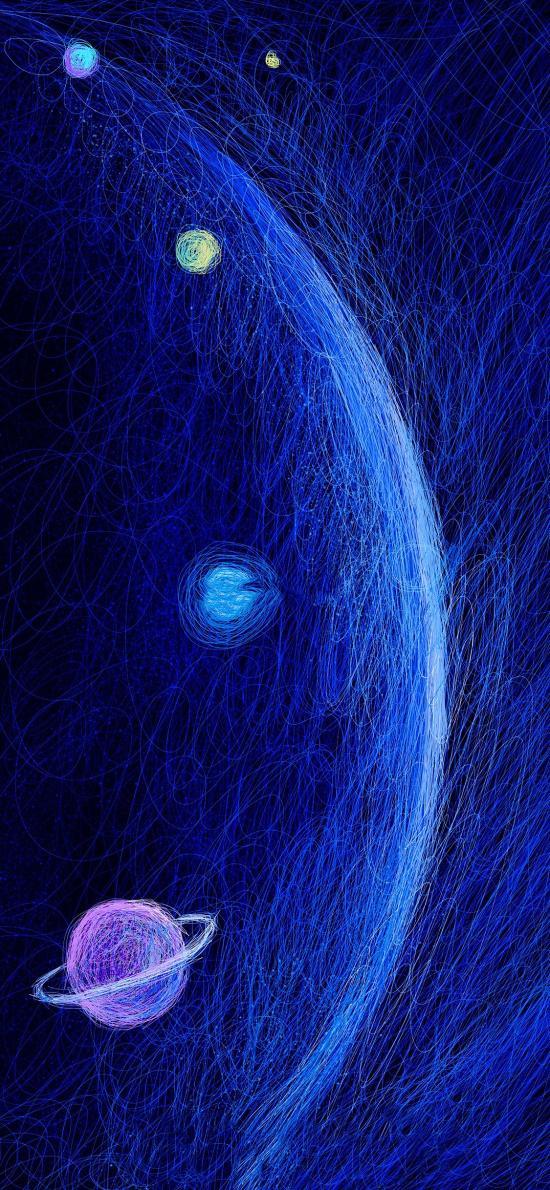 宇宙 线条 蓝色 星球 插画