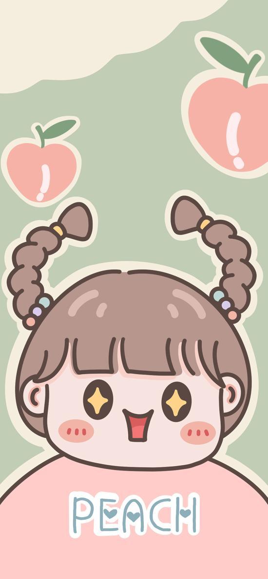 可爱 卡通 女孩 peach 桃子