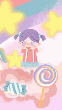 儿童 插画 女孩 棒棒糖(取自站酷网:斑点小哥哥)