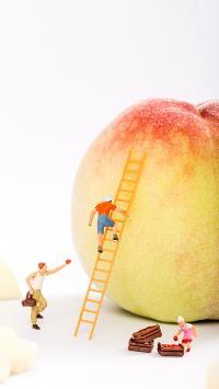 桃子 食物 微观世界 梯子 创意