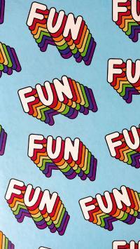 单词 fun 有趣 平铺