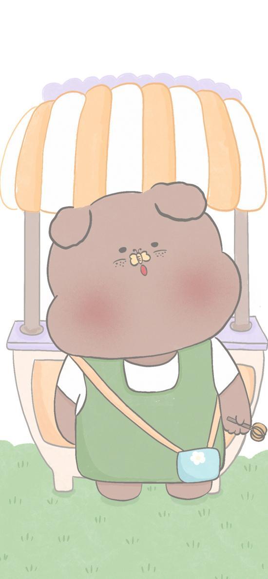 卡通 小熊 棕熊 可爱(取自微博:寄喜饼给你喔)