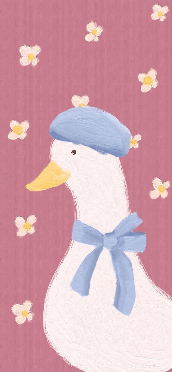 小花 鸭子 可爱 插画