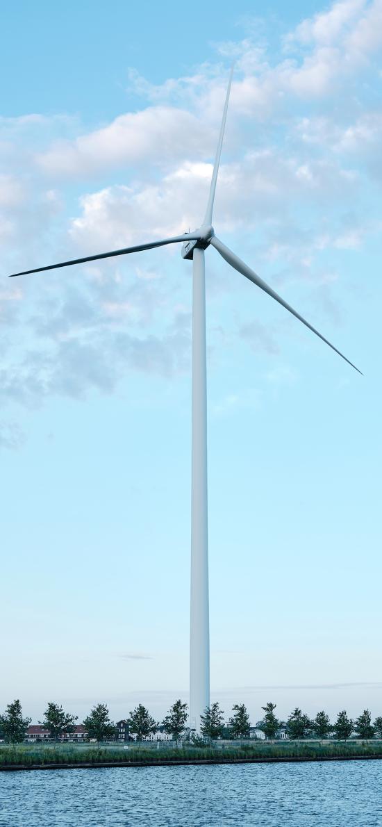 风车 风力发电机 天空 蔚蓝 广阔