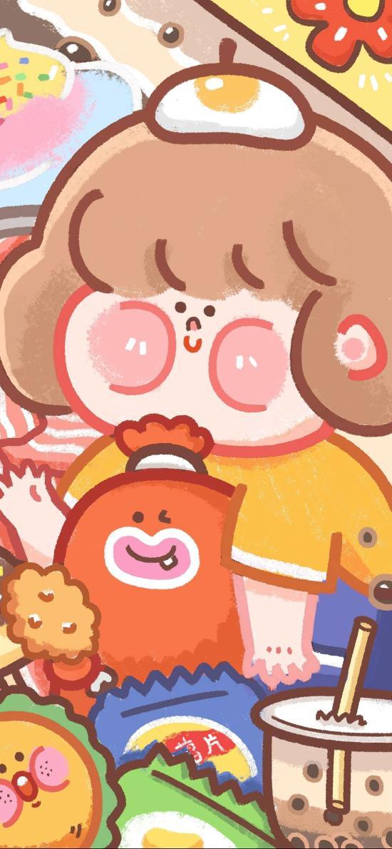 小胖妞 零食 色彩 插画 吃货