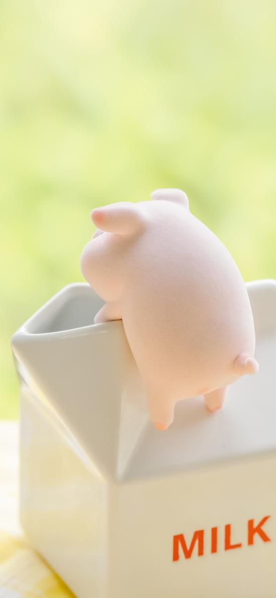 lulu猪 玩具 摆件 可爱 牛奶 陶瓷