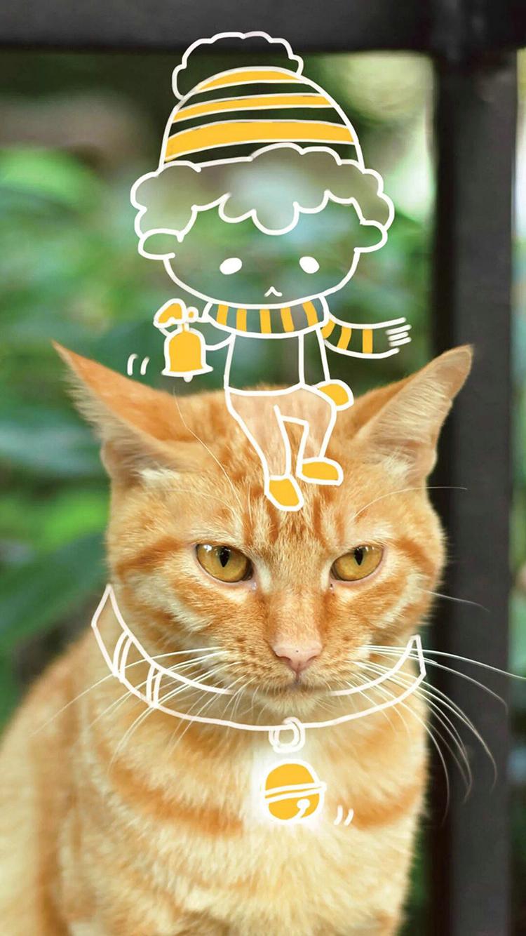 猫 喵星人 简笔画 小男孩 苹果手机高清壁纸 750x1334 爱思助手