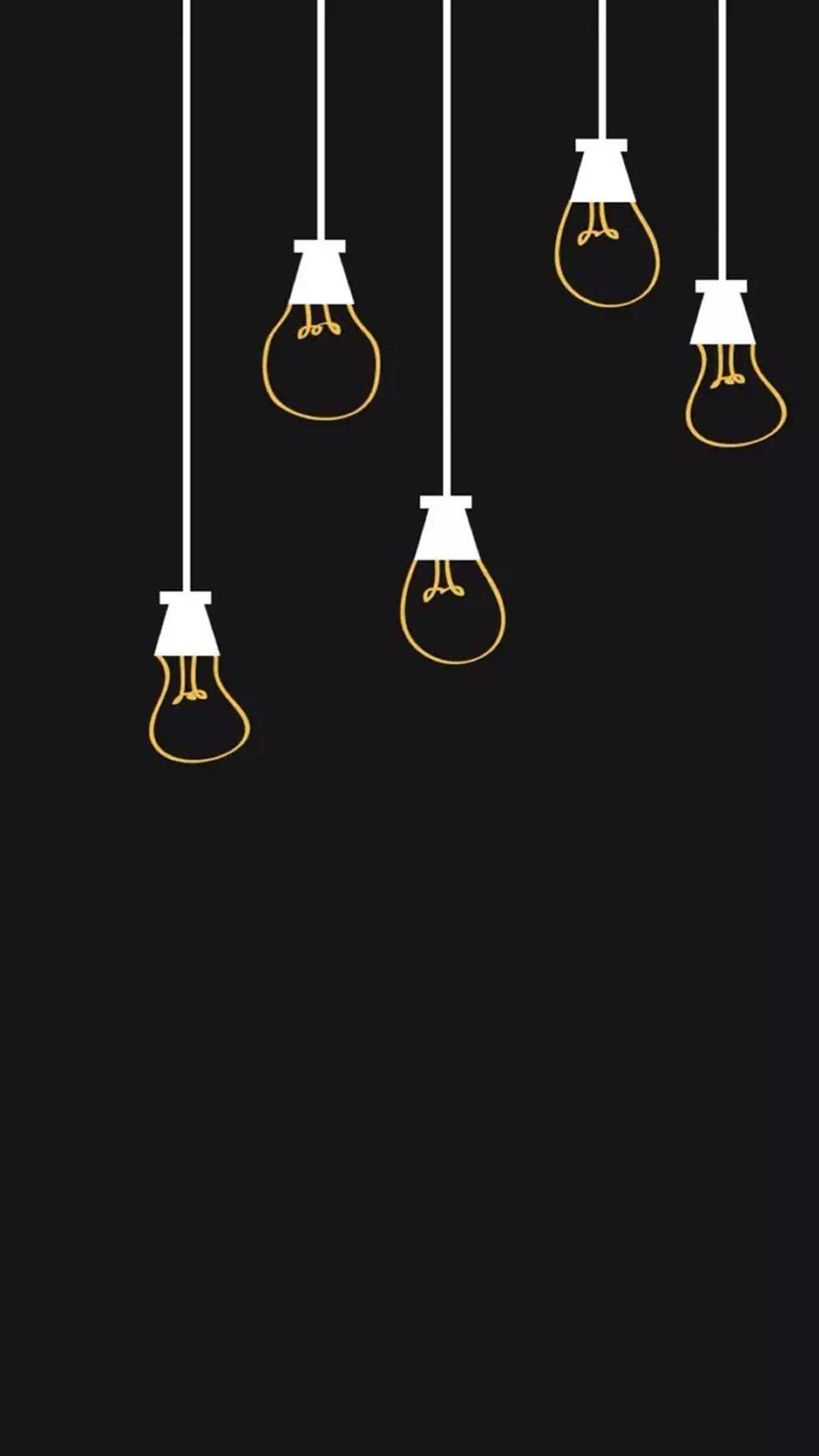 黑色背景 简笔画灯泡 苹果手机高清壁纸 1080x1920 爱思助手