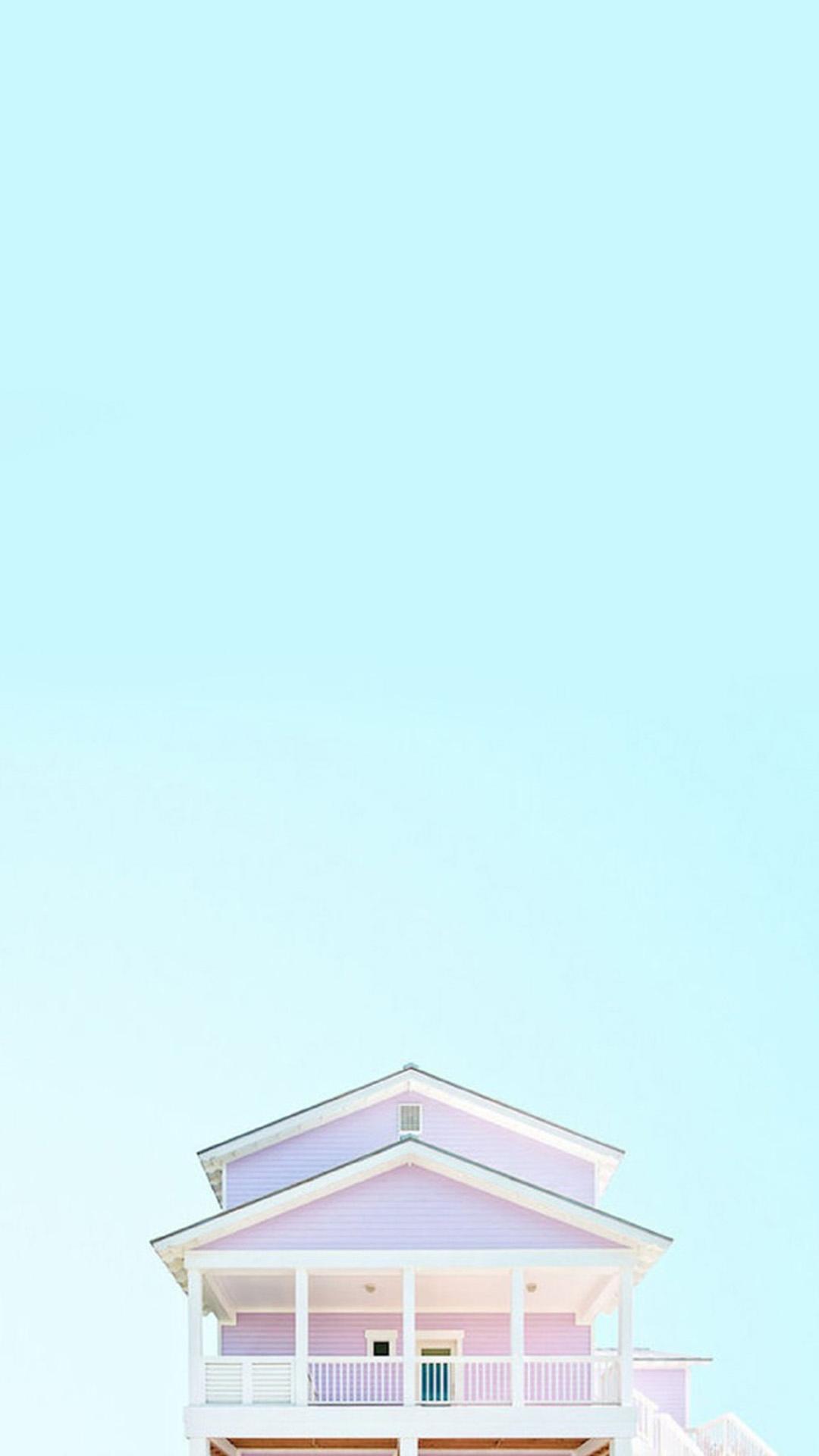 浅蓝色天空小清新小房子苹果手机高清壁纸1080x19 足球分析 首页