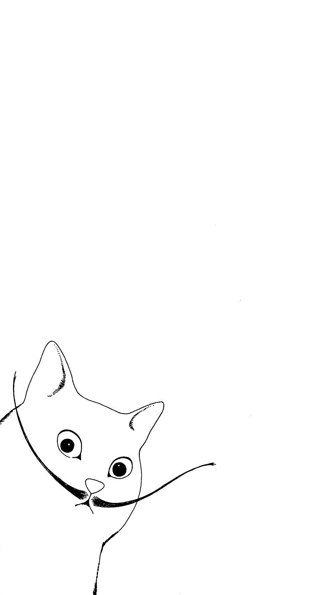 猫咪 黑白 简笔画 插画 简约 苹果手机高清壁纸 1080x1920 爱思助手