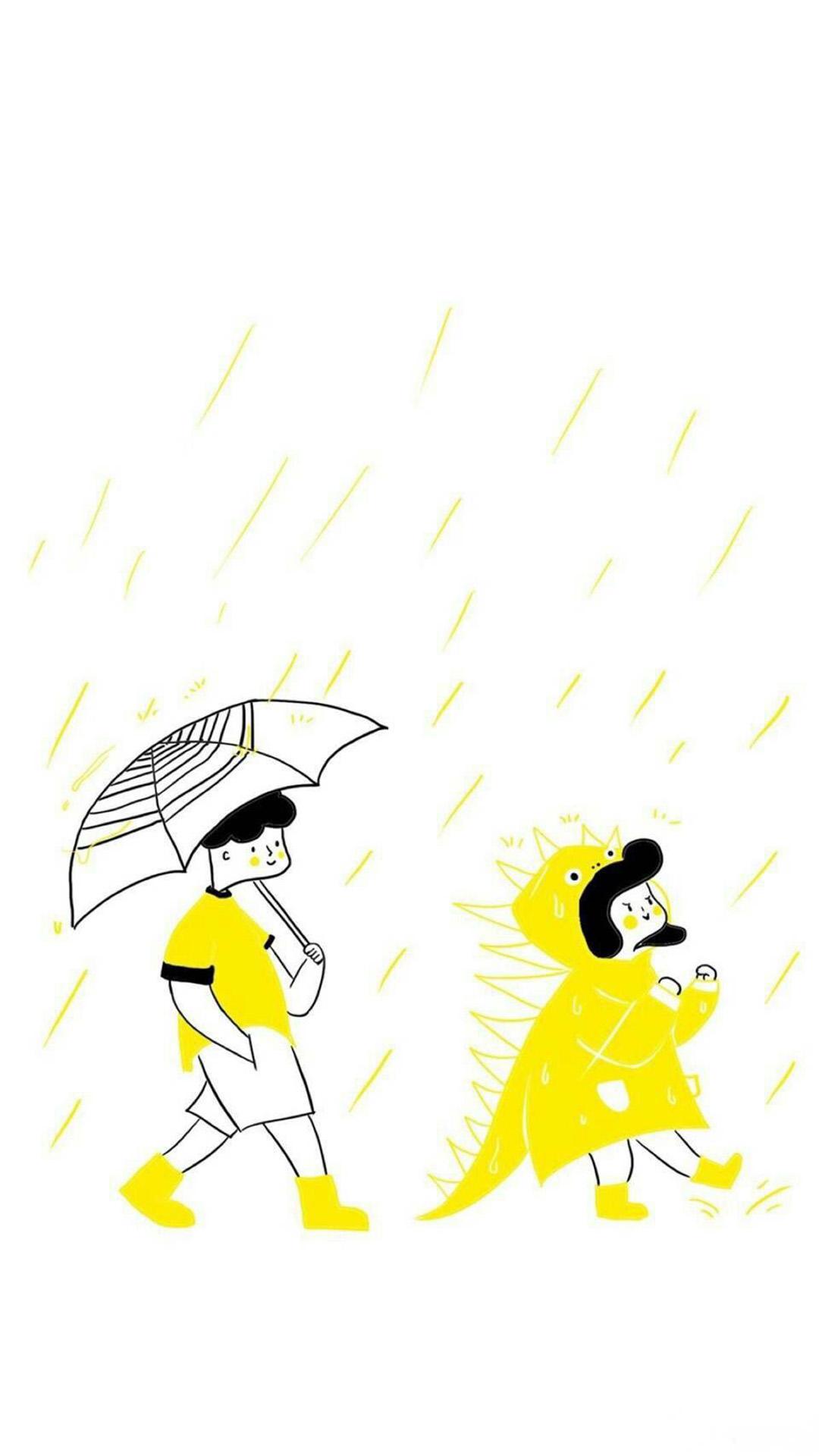 白色背景 卡通简笔画 情侣 下雨天 苹果手机高清壁纸 1080x1920 爱思助手