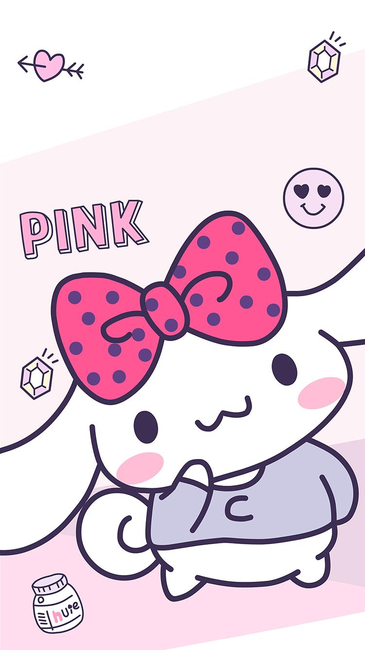 玉桂狗 蝴蝶结 卡通 粉色 pink 可爱 少女心 苹果手机高清壁纸 750x1334 爱思助手