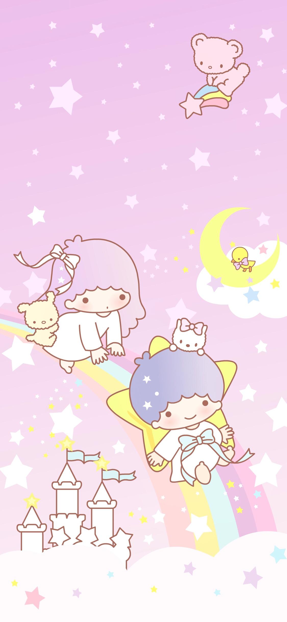 双子星卡通粉色彩虹城堡星星苹果手机高清壁纸1125x2436 爱思助手
