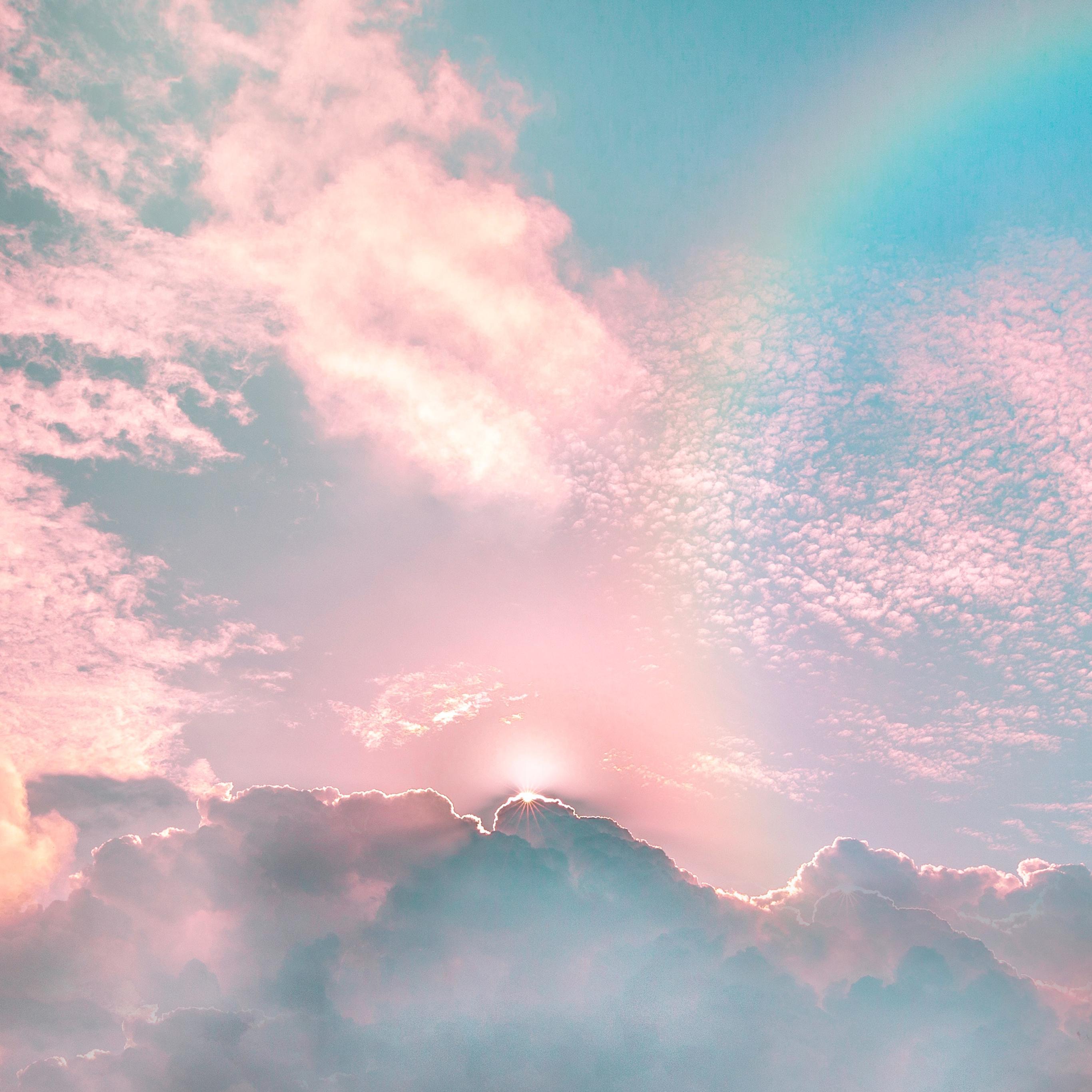 天空渐变彩虹天空苹果手机高清壁纸2732x2732 足球分析 首页