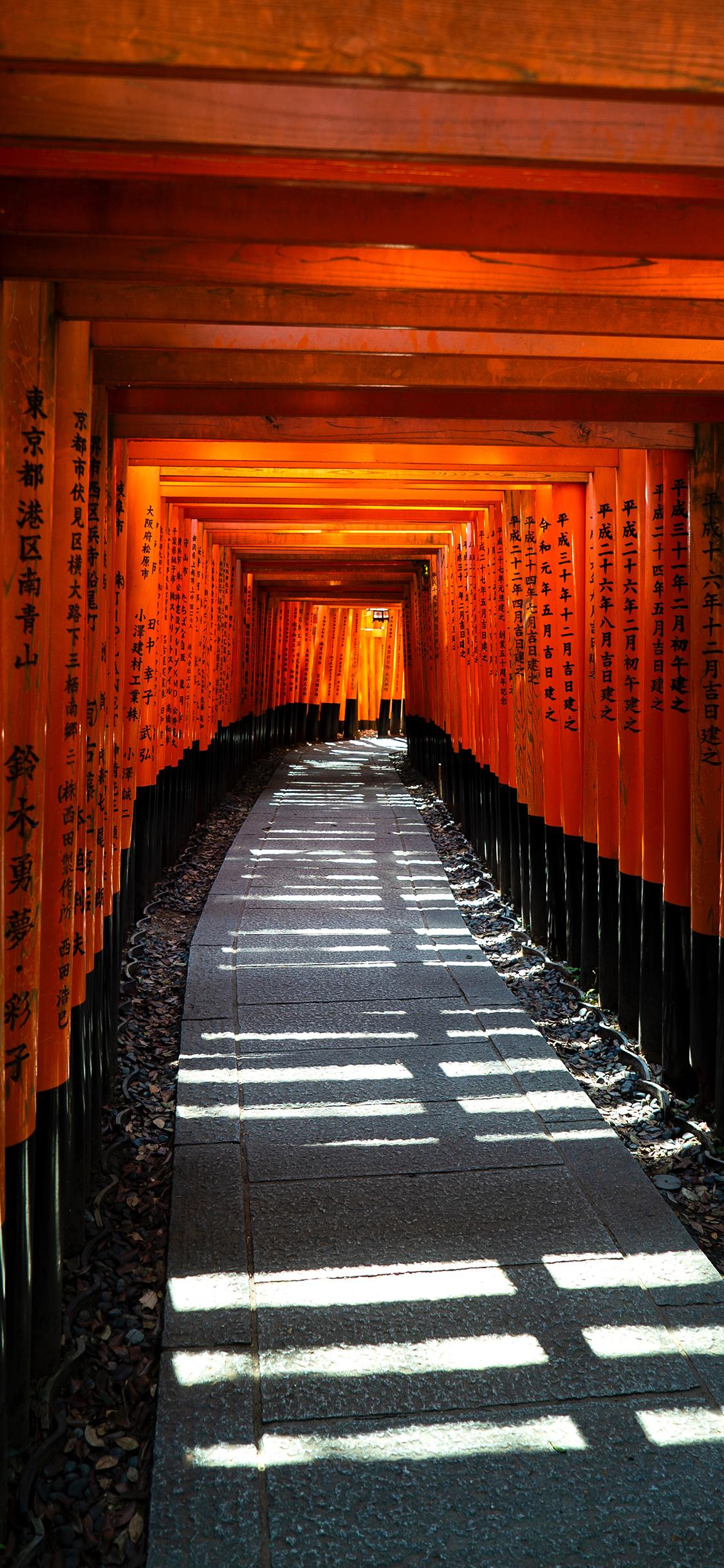 日本京都伏见稻荷神社景点长廊苹果手机高清壁纸1125x2436 爱思助手