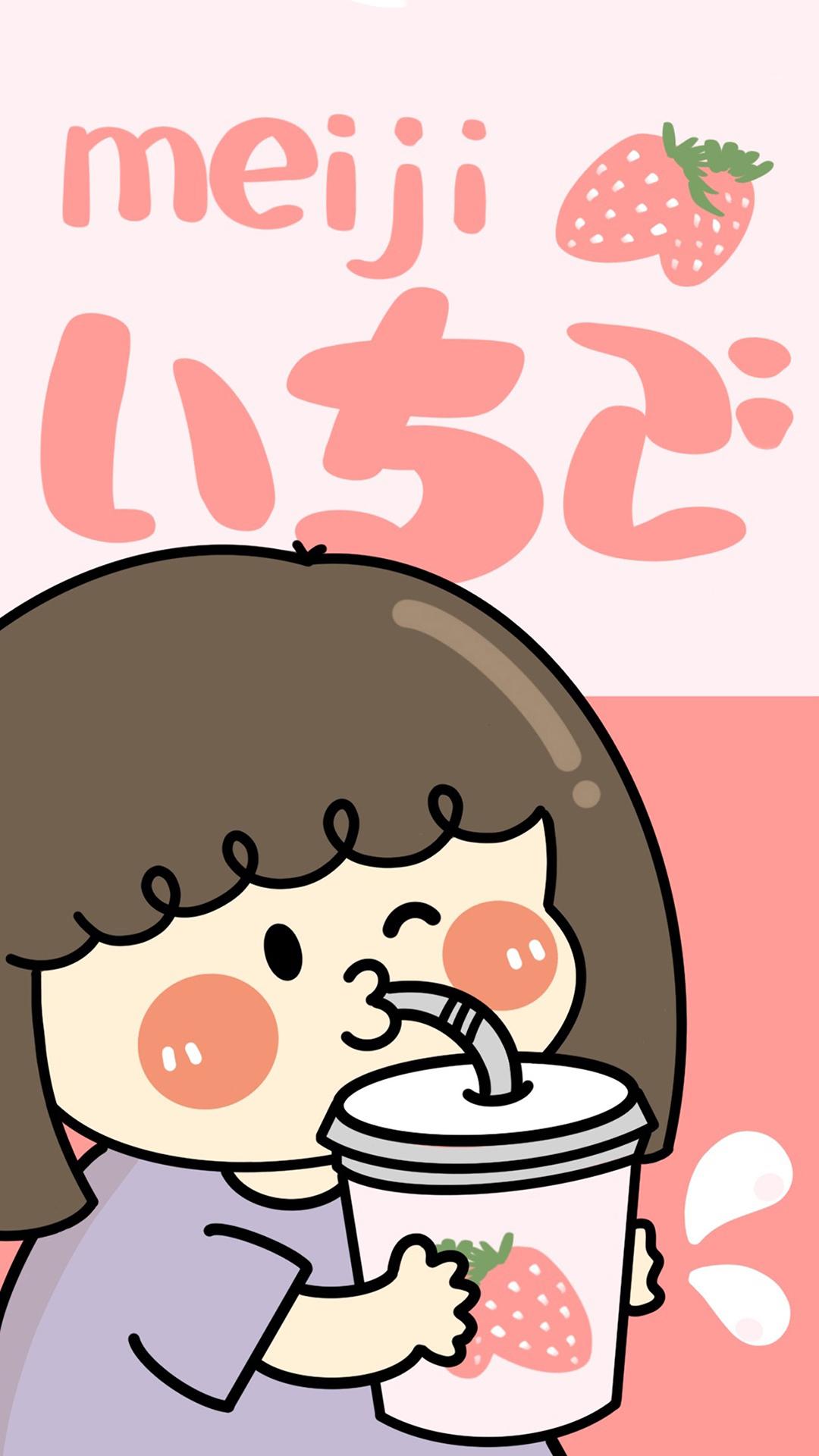 草莓甜度100 明治小女孩苹果手机高清壁纸1080x1920 爱思助手