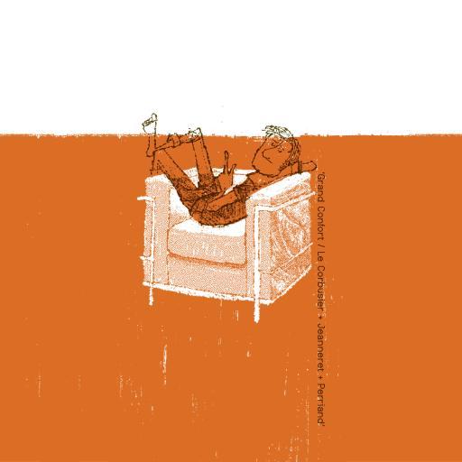 插画 椅子 男孩 手绘 橙色