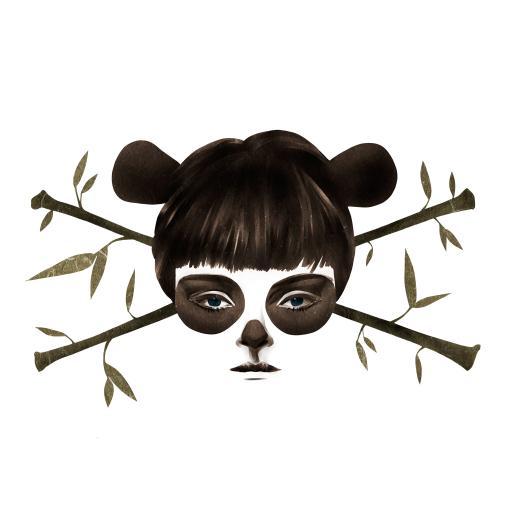 熊猫 女孩 竹子 个性 插画 白色