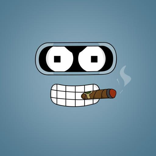 抽烟 卡通 牙齿 可爱 蓝色