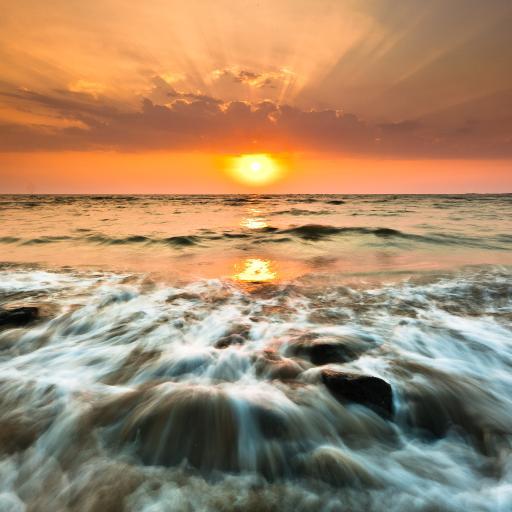 大海 浪花 日出 朝霞 彩色
