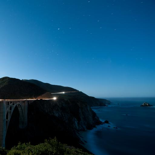 星空 夜晚 桥 海边 蓝色