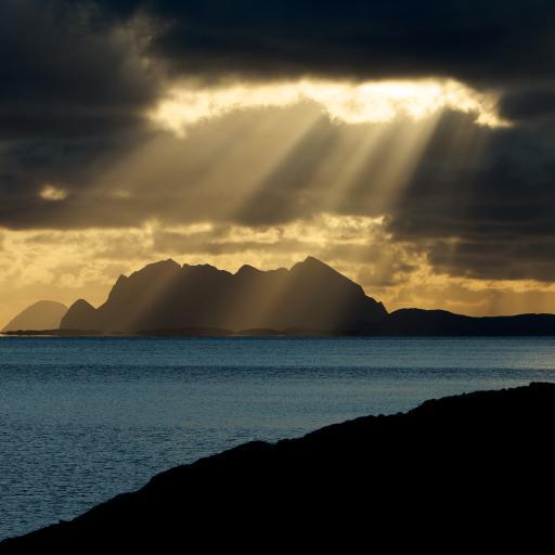 阳光 大海 自然 海水 云 山 彩色