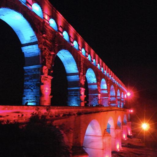 加尔桥 法国 桥 夜景 灯光 黑色