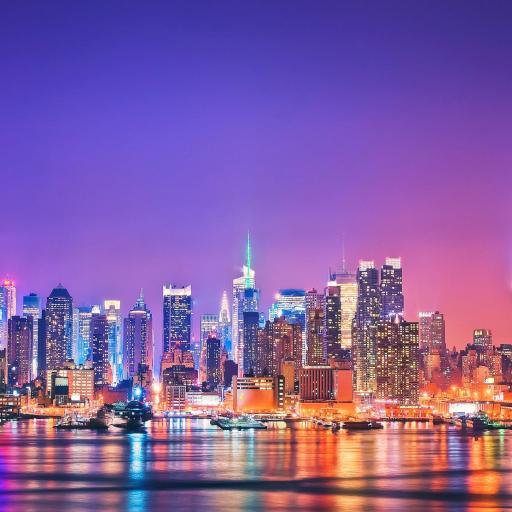 纽约 美国 城市 高楼 大厦 夜景 紫色