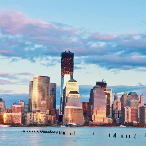 纽约 美国 城市 高楼 大厦 蓝色