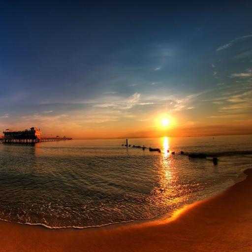 夕阳 黄昏 沙滩 大海
