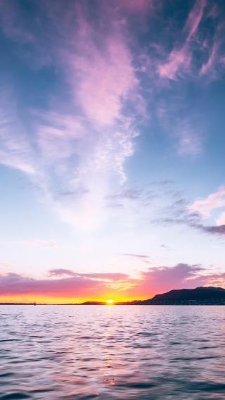 落日 太阳 天空 大海