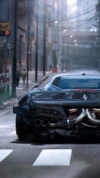 法拉利 黑色 超级跑车 名车
