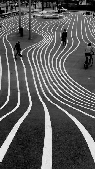 道路 线 黑白 行人 城市