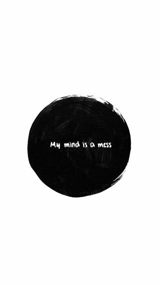 my mind is a mess 黑白 创意 水墨 英文