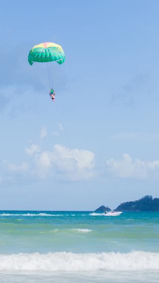 海洋 跳伞 大海 海浪