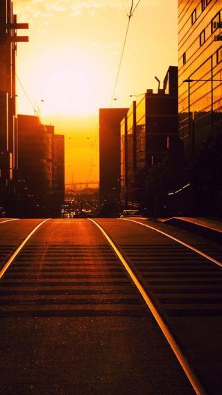落日 城市 道路 都市 黄昏