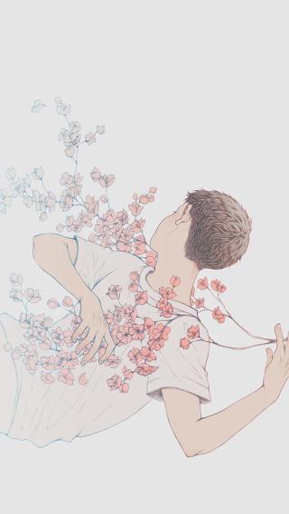 男孩 鲜花 场景 脑洞 抽象 手绘 素色