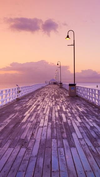 道路 木板 灯 紫色 黄昏