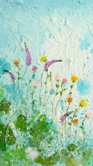 鲜花 色彩 油画 抽象