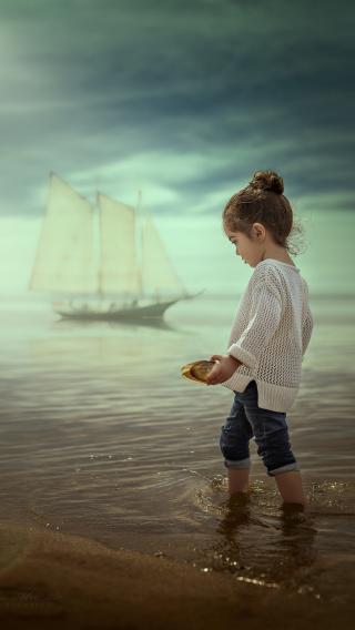 可爱 小女孩 海边 萌娃