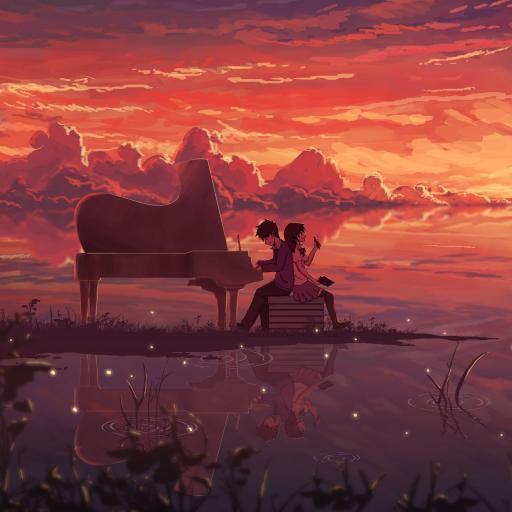 唯美动漫场景 夕阳 钢琴