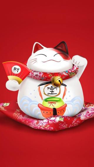 招财猫 陶瓷摆件 红色