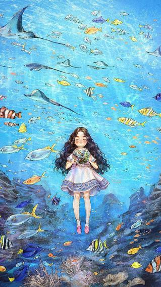 小女孩 海洋 雨 海底世界