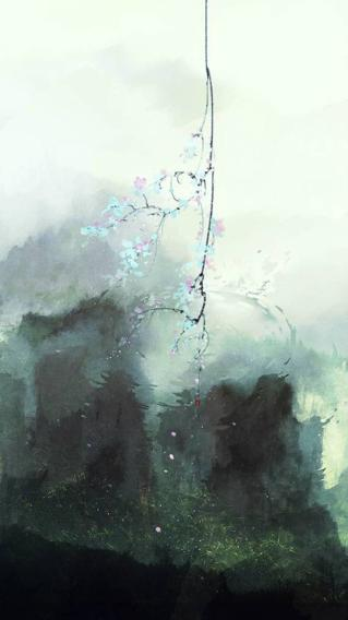 水墨画 国画 山 朦胧 抽象